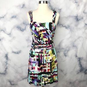 Ali RO Silk Multi Colored Mini Dress